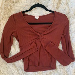 Hollister Maroon Tight Fit Long Sleeve